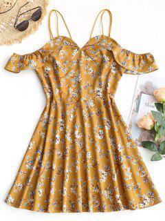 Vestido Estampado Floral Con Volantes Y Hombros Fríos - Mostaza M