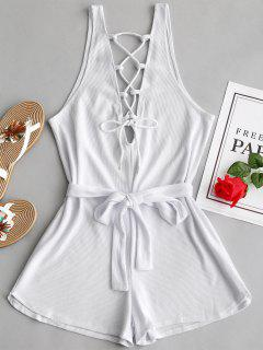 Open Back Lace Up Belted Romper - White Xl