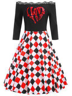 Vestido Con Cuello Redondo De Encaje De Cuadros De San Valentín - Negro 5xl