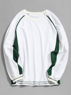 Two Tone Raglan Sleeve Sweatshirt - White M