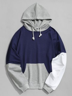 Pouch Pocket Color Block Hoodie - Deep Blue Xl