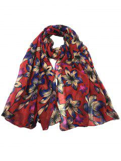 Vintage Flourishing Flowers Pattern Long Scarf - Wine Red