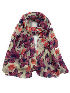 Vintage Flourishing Flowers Pattern Long Scarf - Beige
