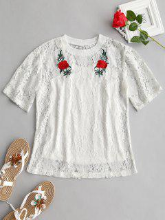 Floral Lace Blouse And Cami Top Set - White L
