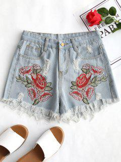 Ripped Floral Embroidered Frayed Denim Shorts - Denim Blue L