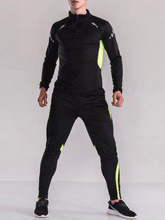 Color Block Half Zip Pullover Sweatshirt Sport Twinset - Black + Yellow Xl
