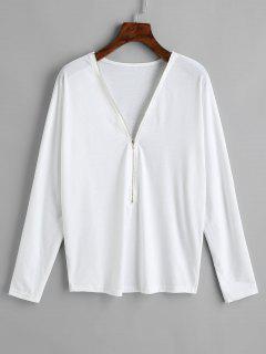 Camiseta De Manga Larga Con Media Cremallera - Blanco S