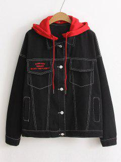 Color Block Hooded Denim Jacket - Black