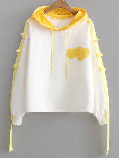 Color Block Ribbon Heart Hoodie - Yellow