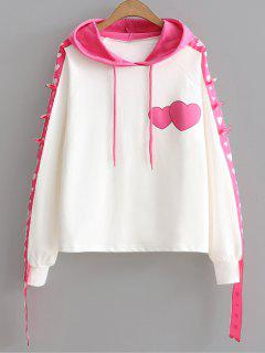 Color Block Ribbon Heart Hoodie - Pink
