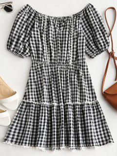 Cut Out Off Shoulder Checked Dress - Checked S
