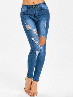 High Waisted Ripped Destroyed Jeans - Blue 2xl