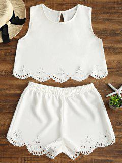 Sleeveless Laser Cut Top And Shorts Set - White M