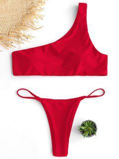 Gepolsterter One-Shoulder-Tanga-Bikini-Set - Rot S