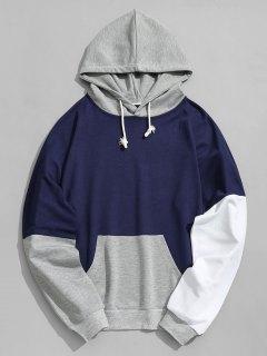 Pouch Pocket Color Block Hoodie Ropa De Hombre - Azul Profundo Xl