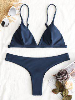 Plunge Thong Bikini Set - Cadetblue S