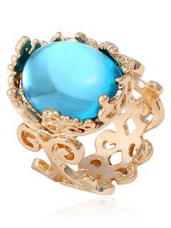 Faux Gem Oval Antique Engraved Ring - Lake Blue One-size