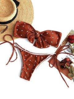 Conjunto De Bikini Palabra De Honor Nudo Corbata - Rojo Ladrillo L