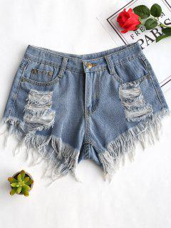 Frayed Hem Ripped Denim Shorts - Denim Blue L