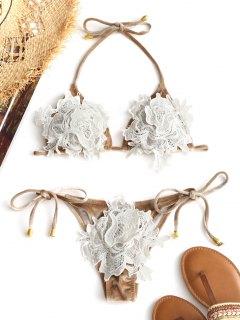 Guipure Velvet String Bikini Set - Champagne S