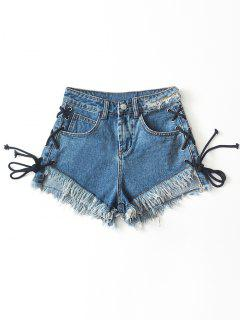 Frilled Hem Lace Up Cutoffs Denim Shorts - Denim Blue L