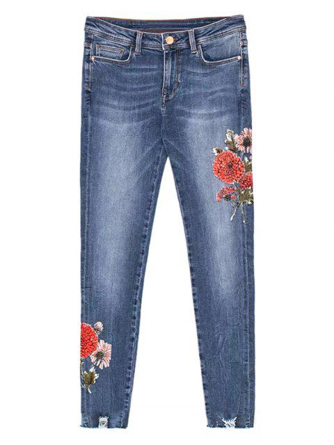 chic Floral Frayed Distressed Hem Jeans - DENIM BLUE L Mobile