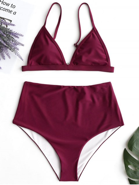 lady Plunge High Waisted Bikini Set - WINE RED M Mobile