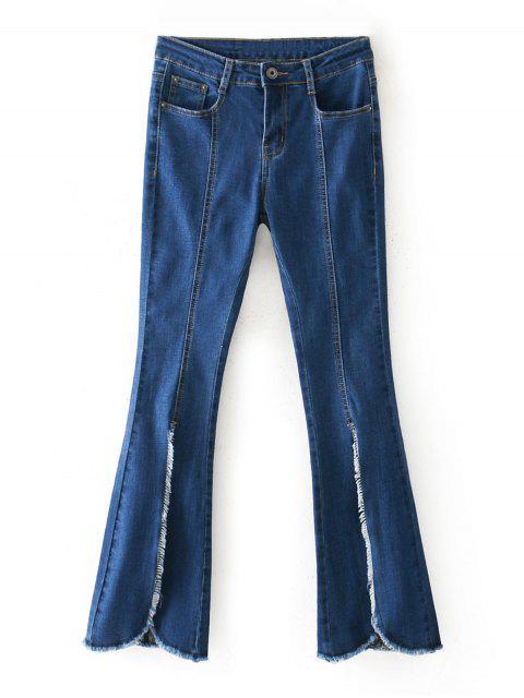 Ausgefranster Saum Vorder Schlitz Boot Cut Jeans - Denim Blau 38 Mobile