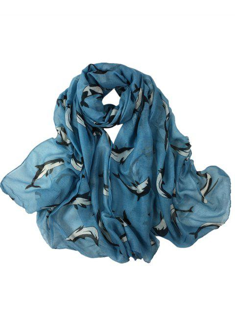 ladies Cute Dolphin Pattern Embellished Sheer Scarf - BLUE  Mobile