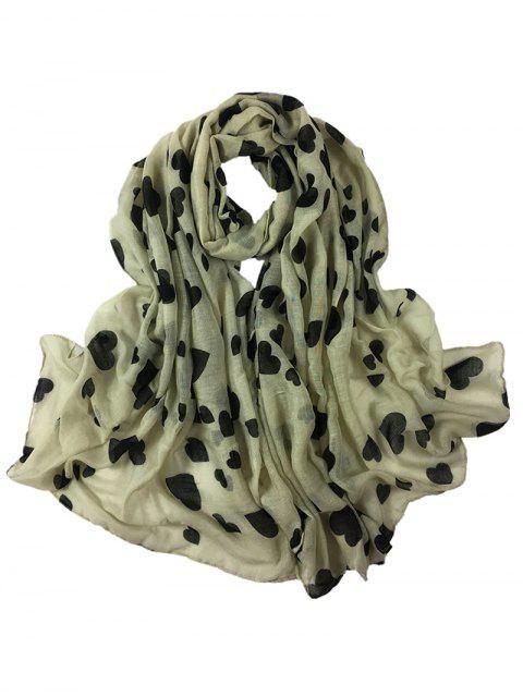 Patrón de corazón embellecido larga bufanda sedosa - Beis  Mobile
