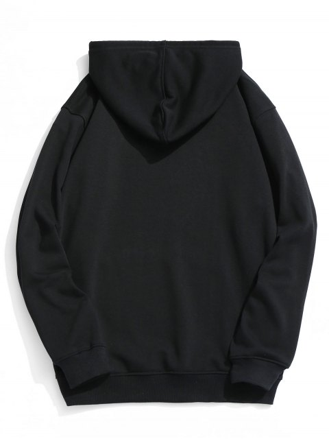 Pouch Pocket Graphic Fleece Hoodie - Negro XL Mobile