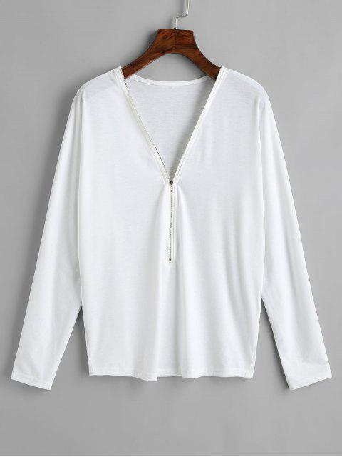 women's Half Zip Long Sleeve Tee - WHITE S Mobile