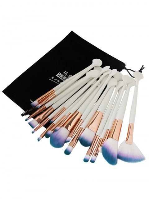lady 20Pcs Ultra Soft Fiber Hair Eye Makeup Brush Set - WHITE+COFFEE  Mobile