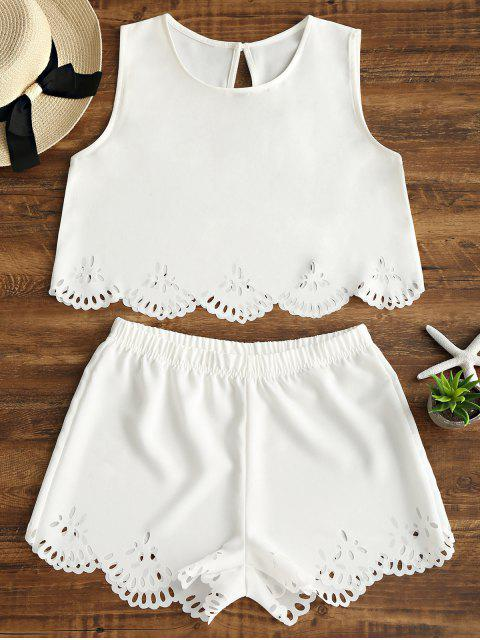 hot Sleeveless Laser Cut Top and Shorts Set - WHITE S Mobile