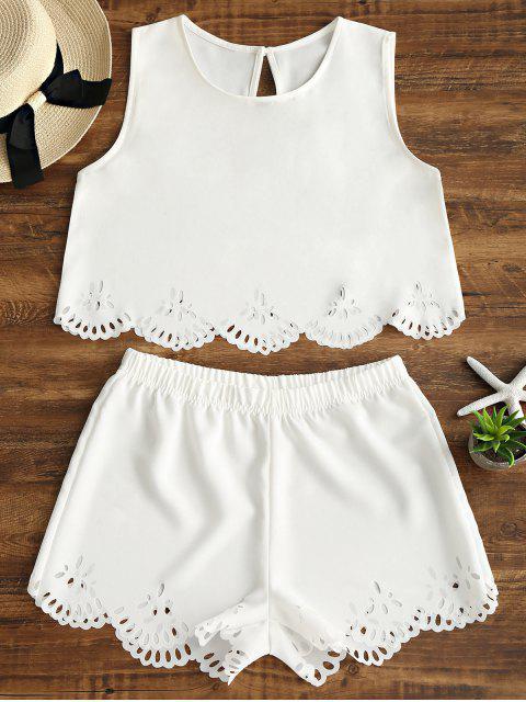 Set de shorts y shorts con corte de láser sin mangas - Blanco S Mobile