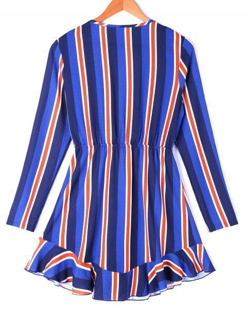 Mini vestido a rayas de corte bajo - Colores Mezclados XL Mobile