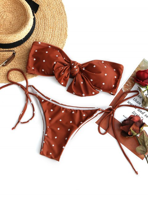 Conjunto de bikini palabra de honor nudo corbata - Rojo ladrillo S Mobile
