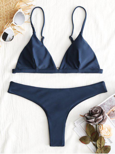women Plunge Thong Bikini Set - CADETBLUE S Mobile