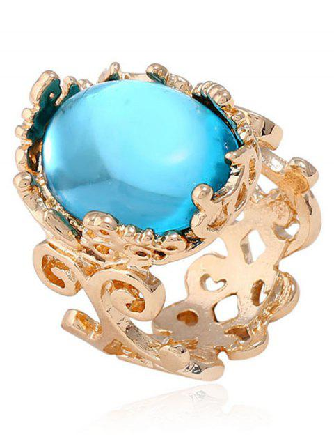 latest Faux Gem Oval Antique Engraved Ring - LAKE BLUE ONE-SIZE Mobile