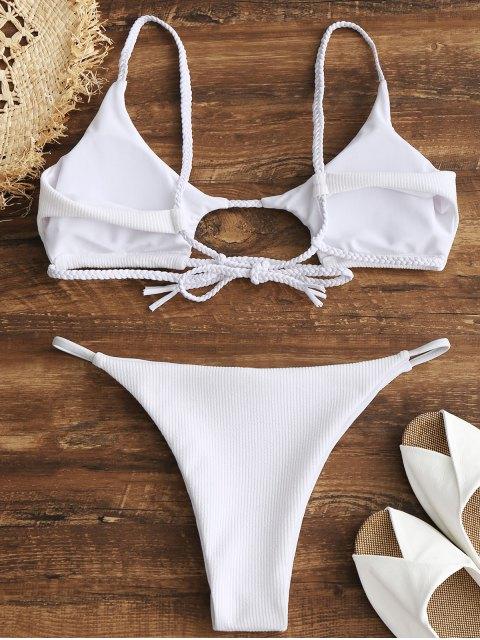 trendy ZAFUL Ribbed Braided Cut Out Bikini Set - WHITE L Mobile