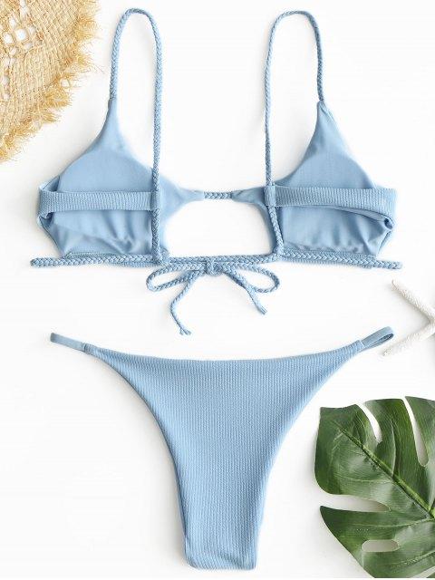 Bikini trenzado con corte acanalado ZAFUL - Azul Claro S Mobile