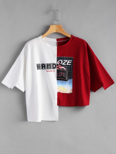 Letter Graphic Contrast Asymmetric Tee - Red With White