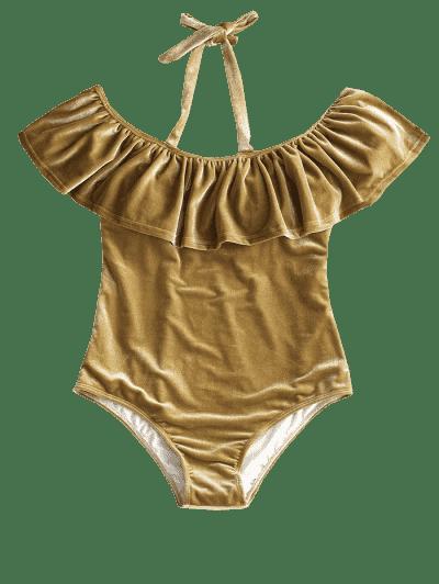 Ruffle Velvet Plus Size Swimsuit