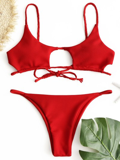 Ribbed Braided Cut Out Bikini Set - Red S