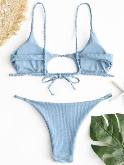 0c0266e10cb3 ... Conful Com Nervuras Trançado Cortado Bikini Set - Azul Claro S