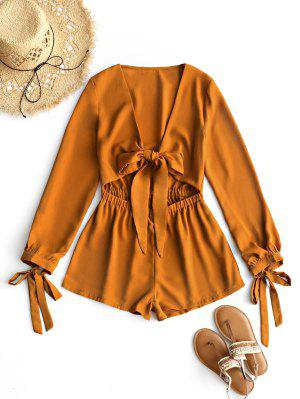 Plunging Neck Bowknot Cut Out Romper