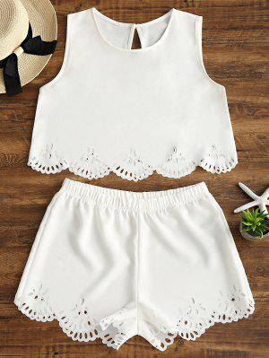 Sleeveless Laser Cut Top and Shorts Set