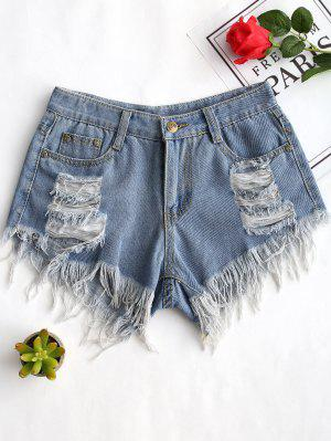 Short Denim Fortement Usé Effiloché