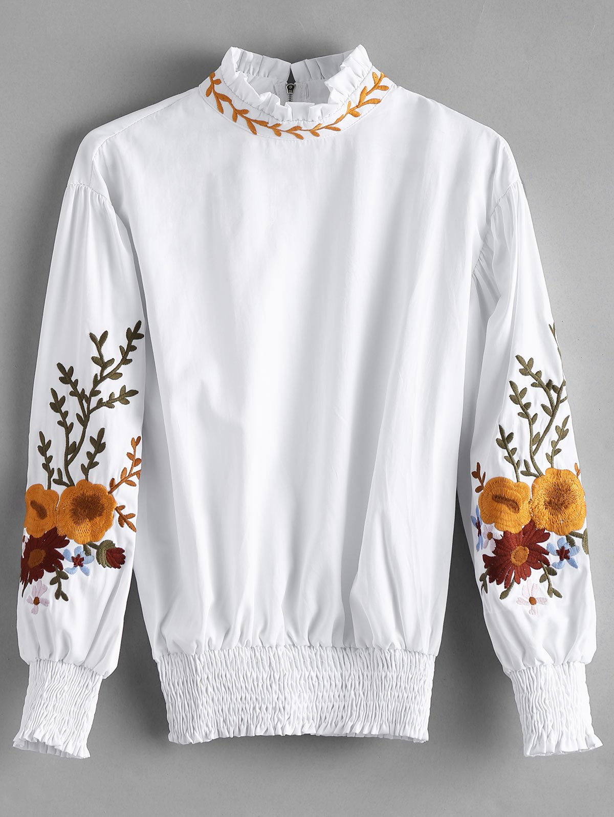 Ruffle Neck Smocked Floral Patched Bluse