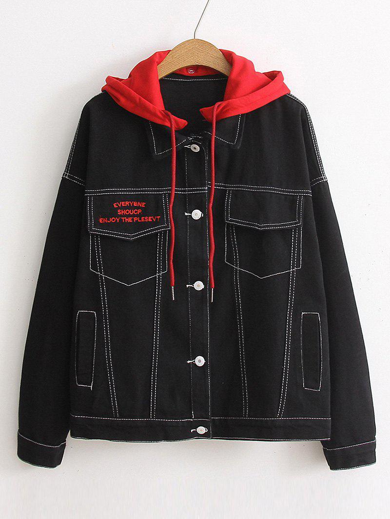 Color Block Hooded Denim Jacket 251892402